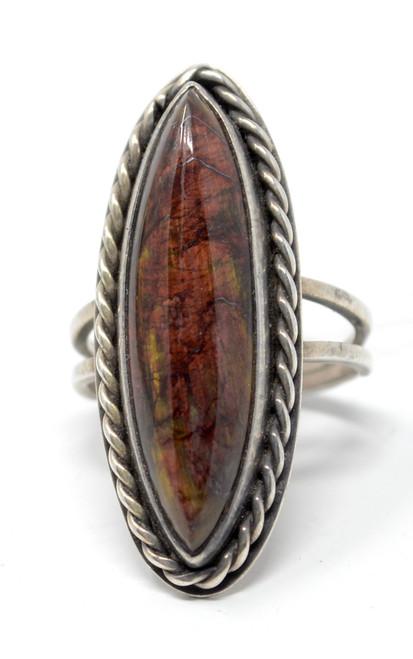 Vintage Jasper Navette Native American Style Sterling Silver Rope Set Ring Size 7