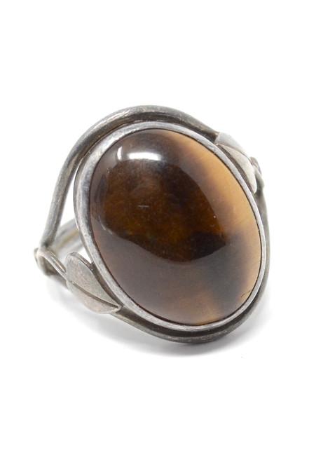 Vintage Tigers Eye Danish Leaf Style Signature 1975 Sterling Silver Set Ring Size 7