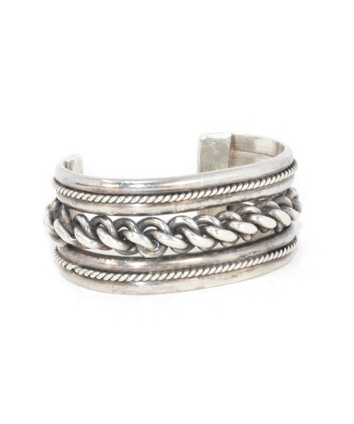 Sterling Silver Rope and Chain Inlay Cuff