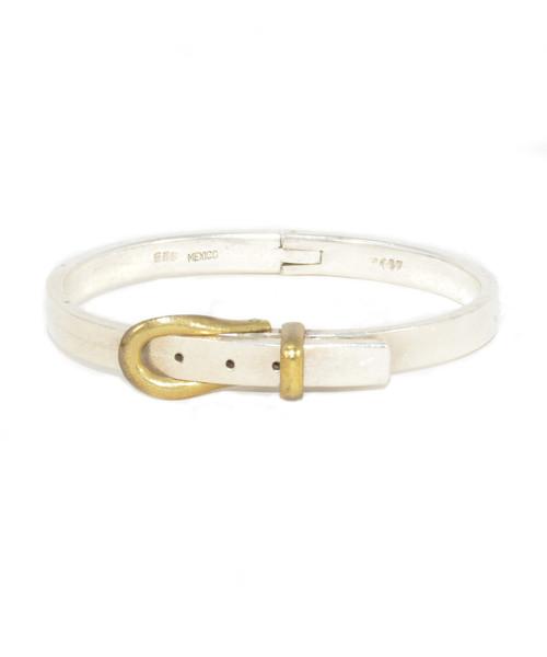 Sterling Silver Large Belt Buckle Bracelet