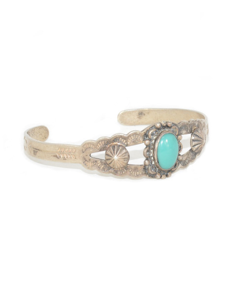 Sterling Silver Turquoise Bell Trading Post Cuff