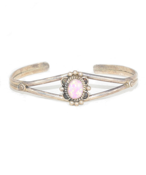 Sterling Silver Synthetic Pink Opal Cuff