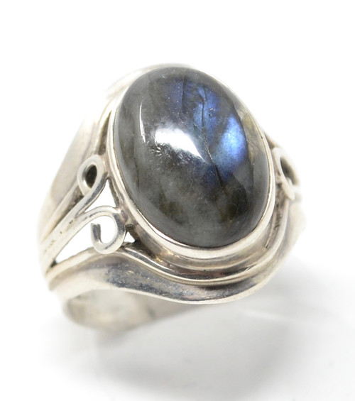 Vintage Labradorite Modernist Style Iridescent Sterling Silver Set Ring Size 6.5