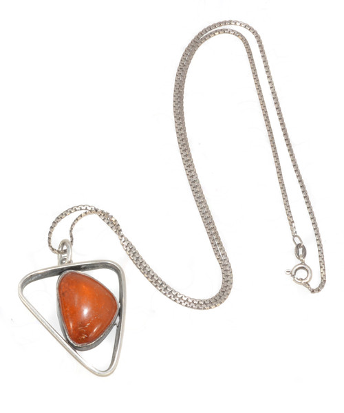Abstract Amber Pendant Necklace