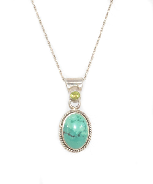 Turquoise and Peridot Pendant