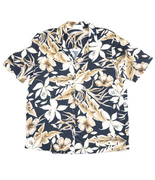Tan Floral Hawaiian Button Up