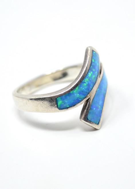 """Vintage MM Opal Overlap Ring Modernist """"Swoosh"""" Style Sterling Silver Set Size 7"""