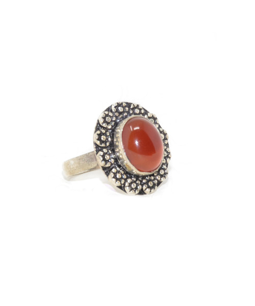 Sterling Silver Amber Floral Crown Ring