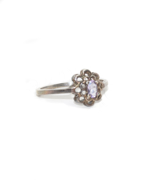 Sterling Silver Faceted Stone Crown Ring