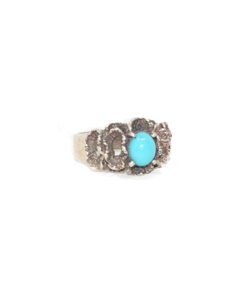 Sterling Silver Organic Floral Turquoise Ring