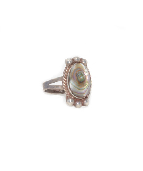 Sterling Silver Bell Trading Post Abalone Ring