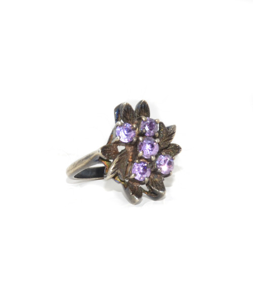 Sterling Silver Floral Lilac Ring