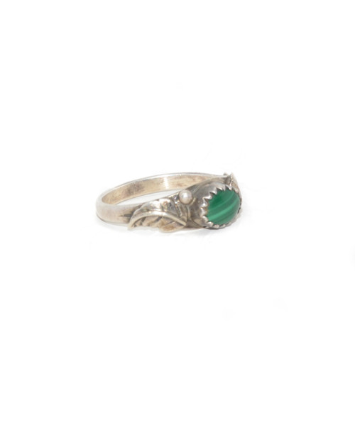 Sterling Silver Southwest Style Malachite Leaf Ring
