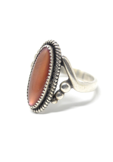 Vintage Orange Paua Shell Native American Rope Style Sterling Silver Set Ring Size 6