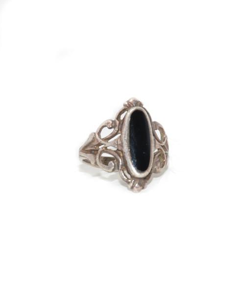 Sterling Silver Art Nouveau Obsidian Ring