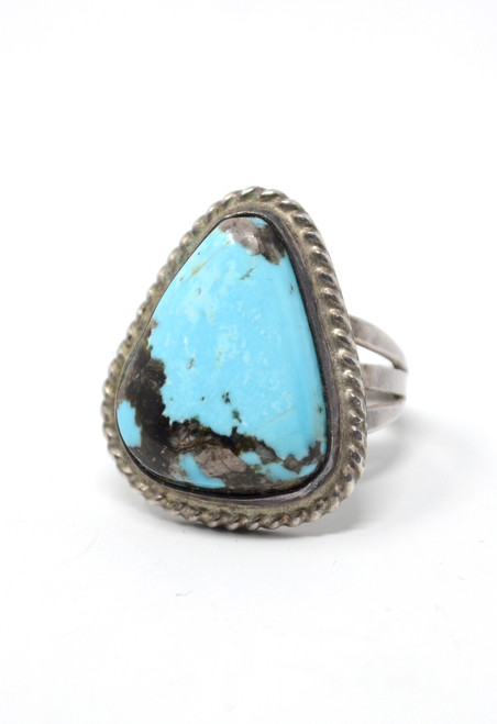Vintage 70's Sunnyside Turquoise Triangle Traditional Matrix Sterling Silver Ring Size 7