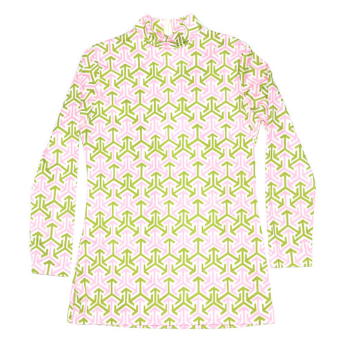Pink & Green Patterned Zip Blouse
