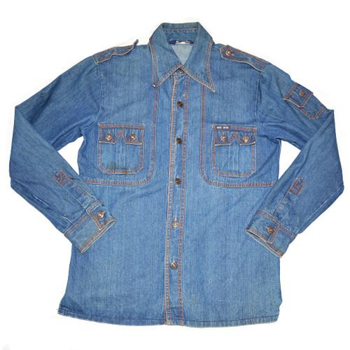 Denim Shirt with Contrast Stitching