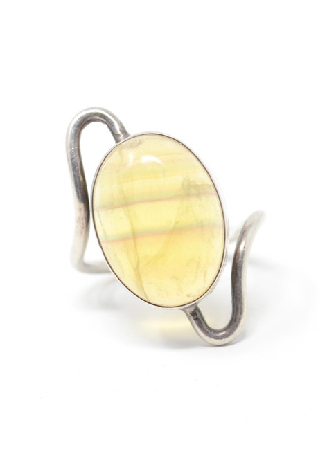 Vintage Yellow Agate Modernist Style Swoop Setting Sterling Silver Ring Size 9