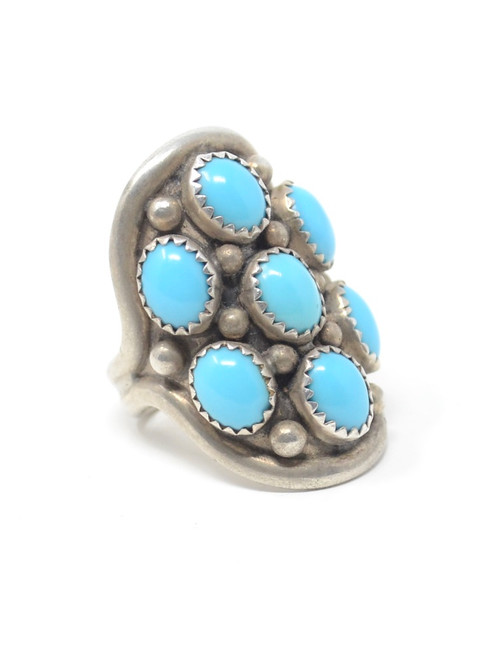 Vintage Navajo Bezel Sawtooth Set Turquoise Ring Sterling Silver Setting Ring Size 7