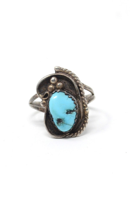 Vintage Aqua Turquoise Native Style Asym Rope Setting Sterling Silver Ring Size 6.25