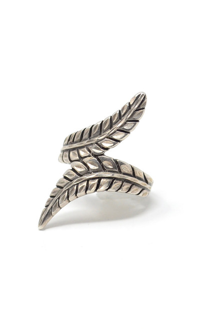 Vintage Double Feather Style Native Sterling Silver Ring Artist Stamp Size 6