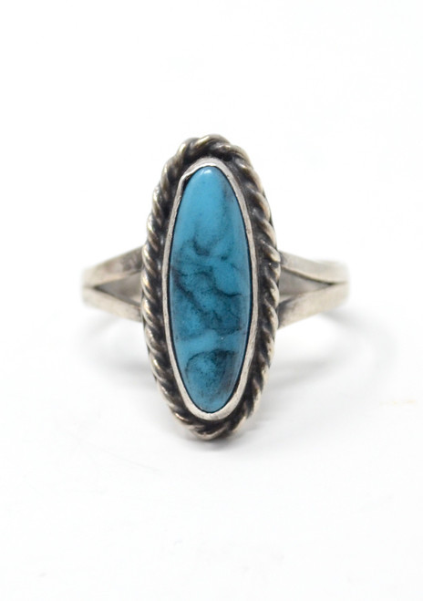 Vintage Imitation Turquoise Southwestern Rope Style Setting Sterling Silver Ring Size 7