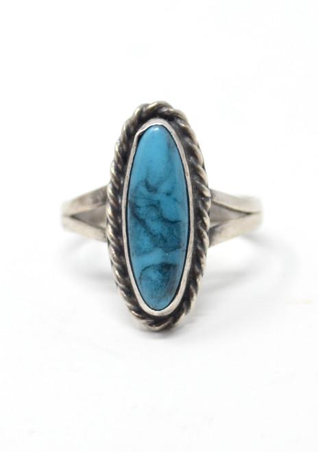 Vintage Imitation Turquoise Southwestern Rope Style Setting Sterling Silver Ring Size 7