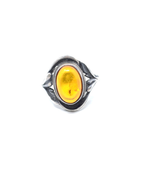 Danish Amber Art Nouveau Style Sterling Silver Setting Ring Size 6.5