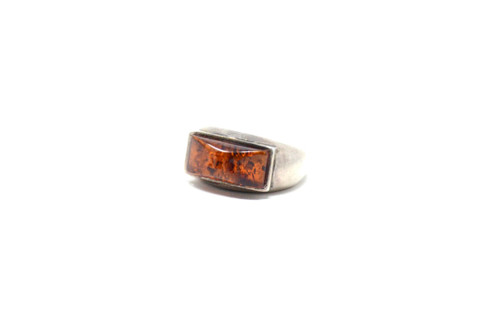 Vintage Sterling Silver Amber Sparkle Rectangular Set Ring Size 5.75