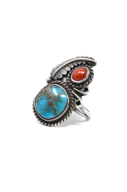 Vintage Sterling Silver Navajo Stop Light Red Coral & Turquoise Asym Feather Ring Size 5.25