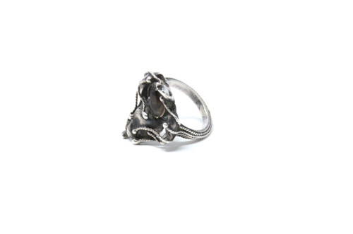 Vintage Sterling Silver Smoky Quarts Brutalist Style Abstract Wax Cast Ring Size 5