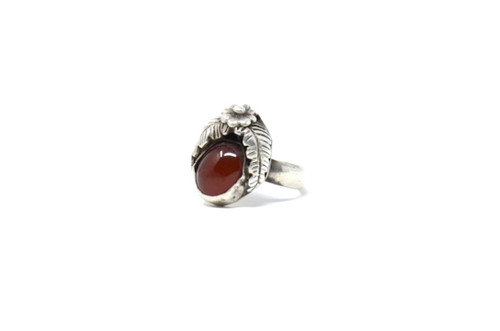 Vintage Sterling Silver Native American Carnelian Feather Setting Ring Size 6.5