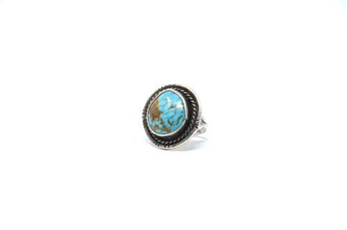 Vintage Sterling Silver Royston Turquoise Navajo Statement Ring (70's) Size 6.25