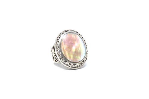 Vintage Sterling Silver Abalone Shell Statement Ring (90's) Size 5.5