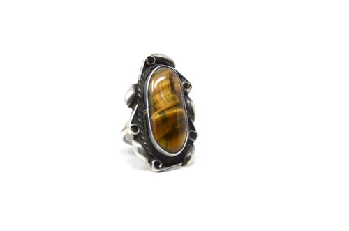 Vintage Sterling Silver Mexican Tigers Eye 925 Ring Size 4.5