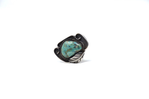 Vintage Sterling Silver Seafoam Turquoise Statement Ring Size 6