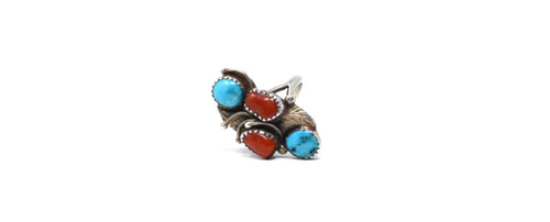Vintage Sterling Silver Navajo Turquoise Coral Cluster  Size 6