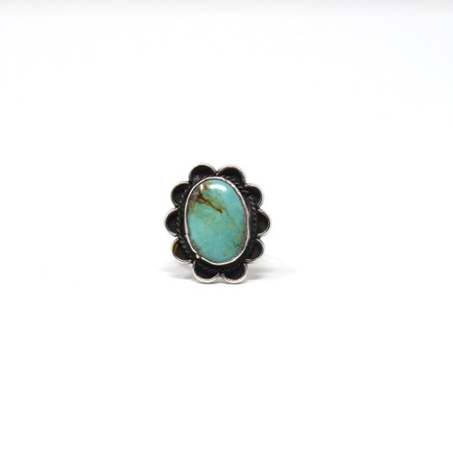 Vintage Sterling Silver Navajo Turquoise Classic Rope & Bezel Set Ring Size 6.75