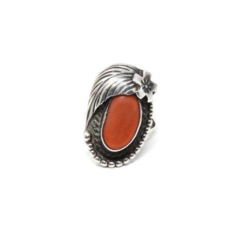 Sterling Navajo Coral Ring