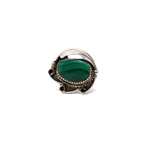 Vintage Sterling Silver Swirl and Feather Malachite Navajo Ring Size 6.5