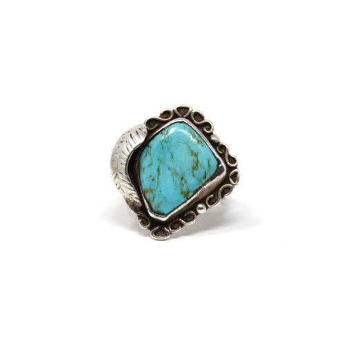 Vintage Sterling Silver Freeform Infinity Turquoise Asymmetrical Bezel & Feather Set Ring Size 6.5