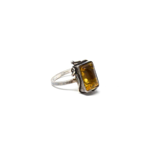 Vintage Sterling Silver Modernist Style Yellow Amber Ring Size 6