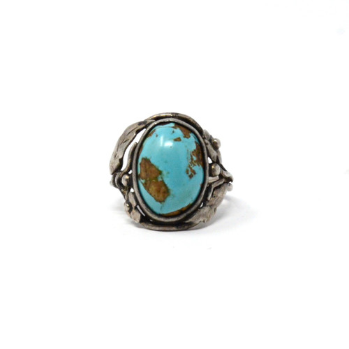 Vintage Sterling Silver Mirrored Boulder Turquoise Floral Setting Ring Size 6.5