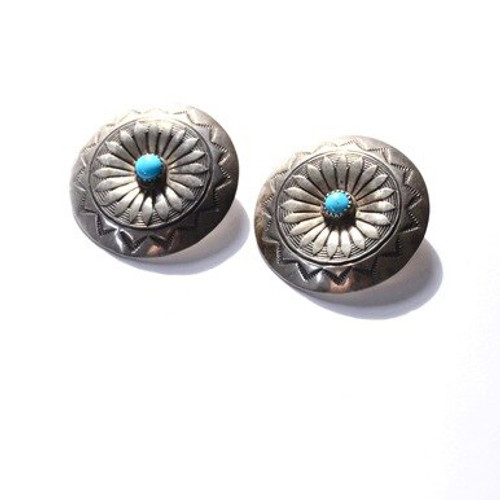Vintage Sterling Silver Navajo Turquoise Bezel Set Floral & Sunray Disc Earrings