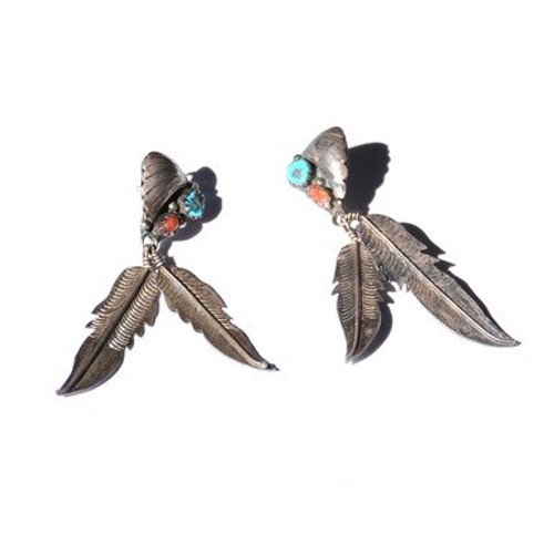 Vintage Sterling Silver Turquoise & Coral Sawtooth Bezel Set Zuni Feather Earrings