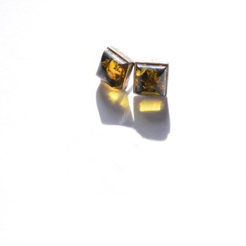 Vintage Sterling Silver Square Amber Sparkle Stud Earrings