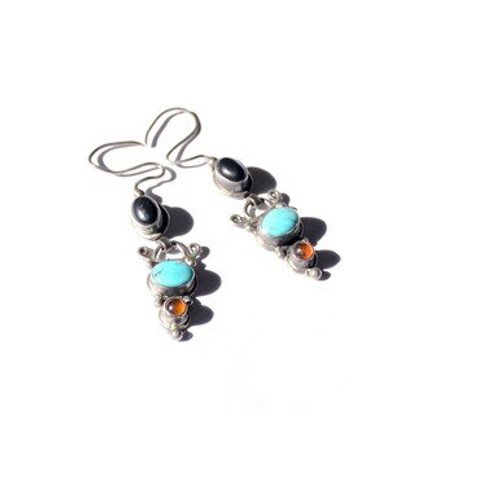 Vintage Sterling Silver Turquoise, Amber & Onyx Cabochon Dangle Earrings