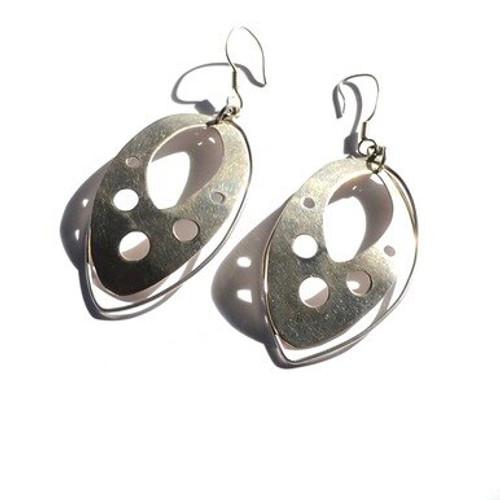 Vintage Sterling Silver Statement Symmetrical Teardrop Dangle Earrings