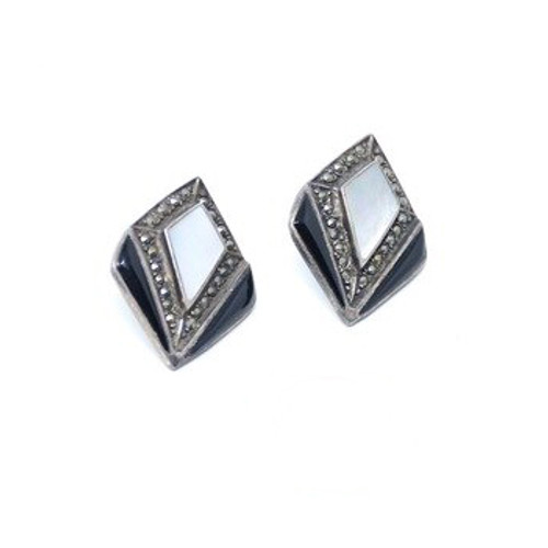 Vintage Sterling Silver Art Deco Mother of Pearl Inlay & Onyx Marcasite Earrings